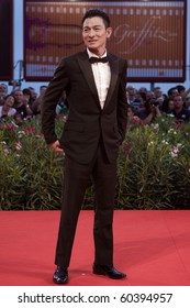 """VENICE, ITALY - SEPTEMBER 5: actor Andy Lau  on red carpet for premiere of  """"Detective Dee and the Mystery of the Phantom"""" by Tsui Hark at 67th Venice Film Festival September 5, 2010 in Venice, Italy."""