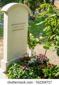 VENICE, ITALY - SEPTEMBER 6, 2013: Gravestone on grave of the Joseph Brodsky - Russian and American poet. San Michele Island, Venice