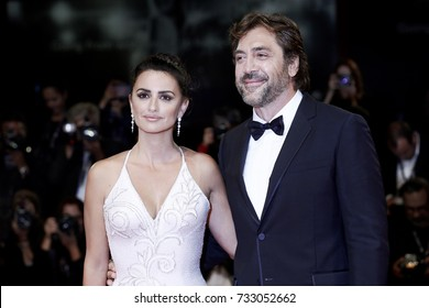 Venice, ITALY - September 6 : Penelope Cruz and Javier Bardem attend the premierel of the movie 'Loving Pablo' during the 74th Venice Film Festival in Venice, Italy on September 6, 2017.