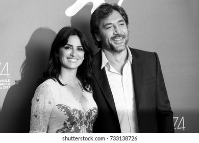 Venice, ITALY - September 6 : Penelope Cruz and Javier Bardem attend the photo-call of the movie 'Loving Pablo' during the 74th Venice Film Festival in Venice, Italy on September 6, 2017.