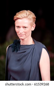 "VENICE, ITALY - SEPTEMBER 8: actress Tilda Swinton on red carpet for movie premiere of ""Venus Noire"" by Abdellatif Kechiche at 67th Venice Film Festival September 8, 2010 in Venice, Italy."