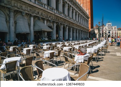 Venice, Italy - September, 9 2018: A Gran Caffe Chioggia outdoor seating open air restaurant at the street at at St. Mark's Square, Piazza San Marco
