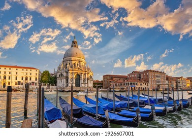 Venice Italy, sunset city skyline at Venice Grand Canal and Basilica di Santa Maria della Salute