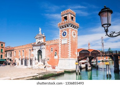 Venice, Italy .Tower at the entrance of the Arsenal in Venice