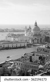 Venice (Italy). A view from above. Santa Maria della Salute domes. Aged photo. Black and white.