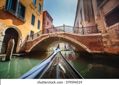 Venice, Italy. View from gondola during the ride through the canals.
