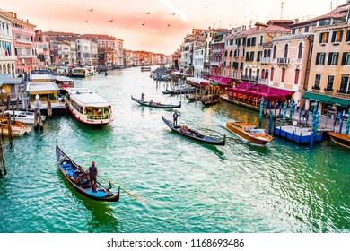 Venice, Italy-02.05.2018: Beautiful Venice at sunset,Grand Canal, Rialto Bridge, and the city of Venice view from above at sunset
