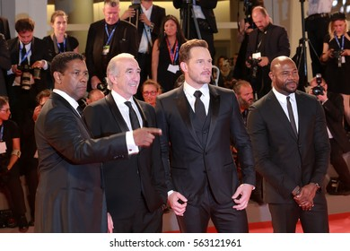 Venice, Italy.10 September, 2016  . Antoine Fuqua , Chris Pratt, Denzel Washington attend the Premiere of the movie 'The Magnificent Seven'  during 73rd Venice Film Festival .