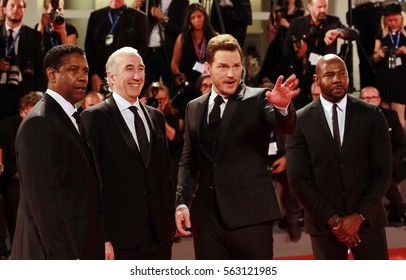 Venice, Italy.10 September, 2016  Denzel Washington, Chris Pratt and Antoine Fuqua attend the premiere of ' 'The Magnificent Seven' following the ceremony awards during 73rd Venice Film Festival .