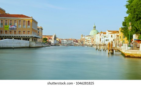 VENICE, ITALY-CIRCA JULY 2015: Long exposure photo of Grand Canal in center of Venice on July, 2015 in Venice, Italy.