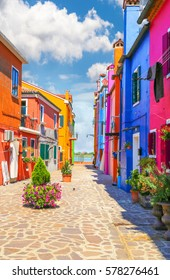 Venice, landmark, Burano island, canal, colorful, houses, italy, with fantastic sky in background
