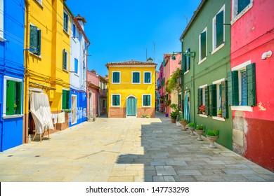 Venice landmark, Burano island street, colorful houses, Italy, Europe.