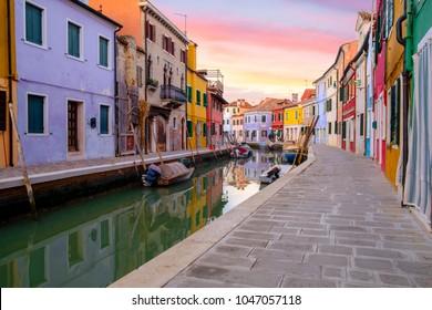 Venice landmark, Colorful Houses in Burano island, Italy