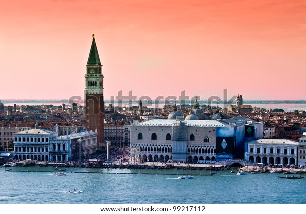 venice landscape with San Marco square and campanile