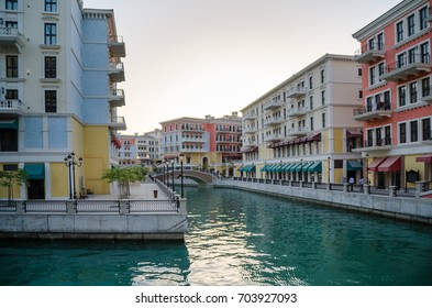 Venice like Qanat Quartier at the Pearl in Doha, Qatar, Middle East.