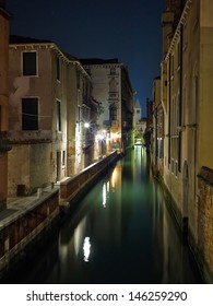 Venice Long exposure By Night. Blurred motion on sea movement.