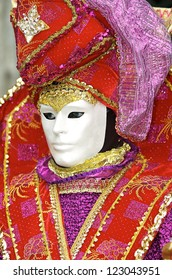VENICE - MARCH 2: Person in Venetian costume attends the Carnival of Venice, festival starting two weeks before Ash Wednesday on March 2, 2008 in Venice, Italy.