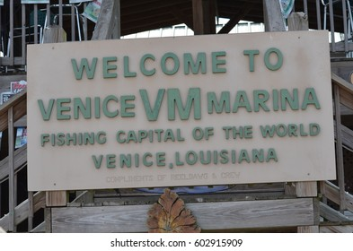Venice Marina Louisiana New Orleans August 2013 Street Sign Welcome to Venice Marina
