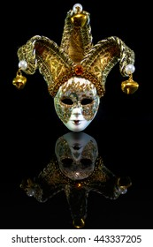 The Venice mask with clipping path (isolated on Black background) & Reflextion