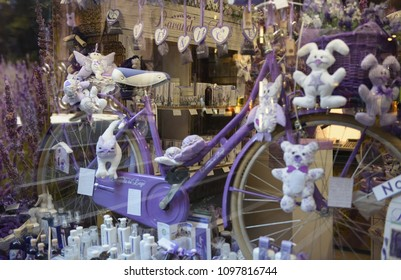 Venice May 2017 Italy showcase shop with lavender products, bicycles lavender and toys. Selective focus.