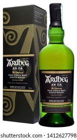 VENICE - MAY 2019. Bottle of Scotch Whisky Ardbeg An Oa 70cl, 46,6%Vol.