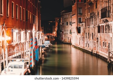 Venice at night. Night city scape. Long exposure
