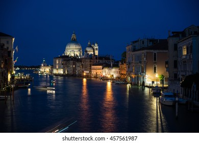 Venice - Night view of Grand canal from Rialto bridge.
