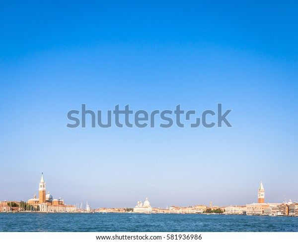 Venice panorama from the waterfront during a sunny day