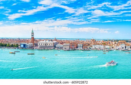 Venice panoramic landmark, aerial view of Piazza San Marco or st Mark square, Campanile and Ducale or Doge Palace. Italy, Europe. High resolution photography.