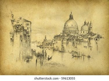 Venice. Pencil on paper.