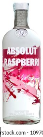 VENICE REPUBLIC - MAY 2018. Bottle of vodka Absolut Raspberri 1 liter, 40%Vol.