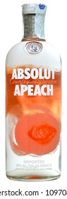 VENICE REPUBLIC - MAY 2018. Bottle of vodka Absolut Apeach 1 liter, 40%Vol.