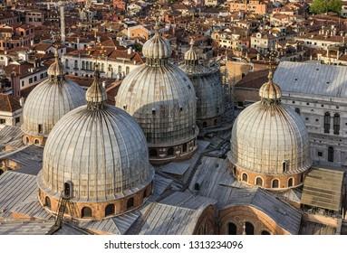 Venice San Marco Cathedral cupolas, Italy.