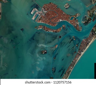 Venice seen from space. Venice a view from space, above. Venice from the sky Elements of this image furnished by NASA.