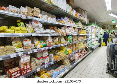 VENICE - SEPTEMBER 14: supermarket interior on September 14, 2014 in Venice, Italy. If you need water, fruits, yoghurt, then supermarkets are a good way of saving some money in Venice