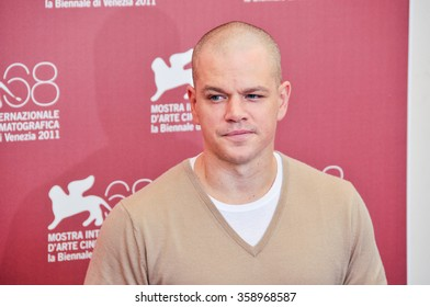 VENICE - SEPTEMBER 3: Actor Matt Damon poses at photocall during the 68th Venice Film Festival at Palazzo del Cinema in Venice, September 3, 2011 in Venice, Italy.
