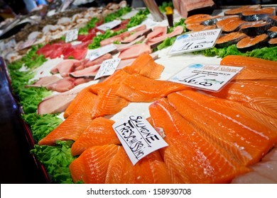 VENICE - SEPTEMBER 4: Salmon fillets in fish market on September 4, 2013 in Venice. Traditional markets provide daily supplies of fish, vegetables or fruits since 1097.