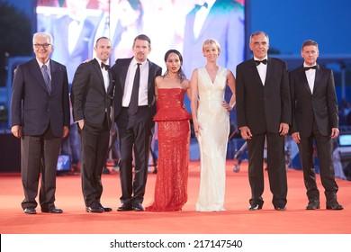 VENICE - SEPTEMBER 5:  Baratta, Foreman, Ethan Hawke, Zoe Kravitz, January Jones, Alberto Barbera, Andrew Niccol at 'Good Kill' premiere at 71st Venice Film Festival on September 5, 2014 in Venice.
