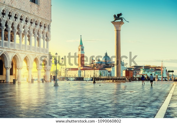 Venice sunrise, famous San Marco square at sunrise in Venice, Italy, Vintage post processed.