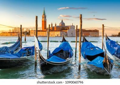Venice sunrise. Venice gondolas on San Marco square at sunrise, Grand Canal, Venice, Italy,
