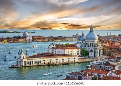 Venice sunset panoramic cityscape, Santa Maria della Salute church, Veneto, Italy