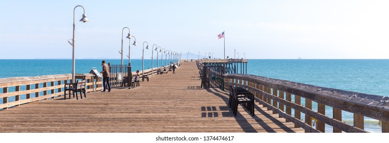 VENICE, UNITED STATES - MAY 21, 2015: Ventura Historic wooden Pier in Los Angeles, USA