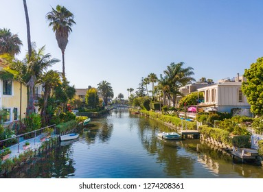 VENICE, USA - JULY 6, 2008: old canals of Venice, build by Abbot Kinney in California, beautiful living area with boats and residential houses.