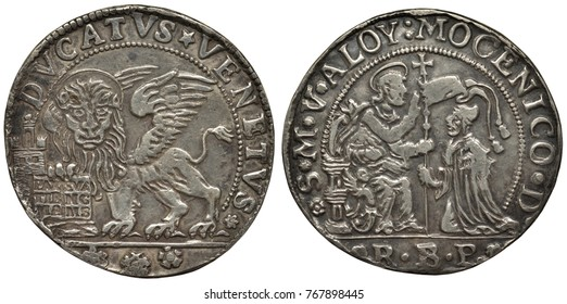 Venice Venetian Italy Italian coin 1 one ducato 1768,  winged lion of St Mark holding book, nimbus above lion's head, seated and kneeling figures divided by standard,
