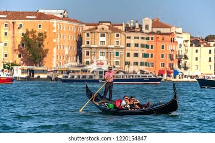 Venice, Veneto, Italy, 20.8.2018, gondola in Venezia
