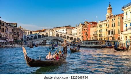 Venice, Veneto, Italy, 20.8.2018, gondola near to Rialto bridge on Grand canal street in Venezia