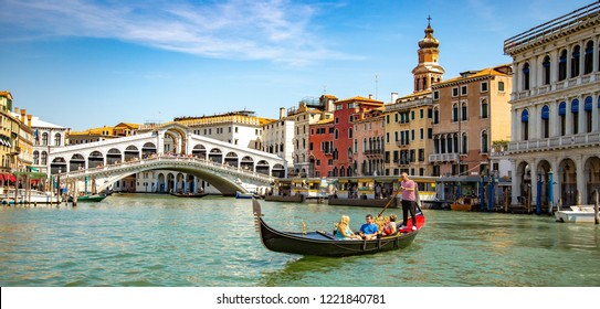 Venice, Veneto, Italy, 22.8.2018, gondola near to Rialto bridge on Grand canal street in Venezia