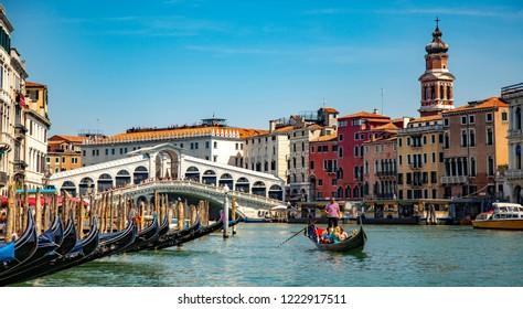 Venice, Veneto, Italy, 22.8.2018, gondola near to Rialto bridge on Grand canal street in Venezia
