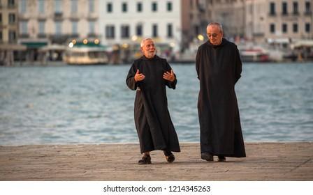 Venice, Veneto, Italy, 24.7.2018, priests disputation in Venezia