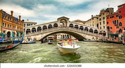 Venice, Veneto, Italy, 31.8.2018, boat near to Rialto bridge on Grand canal street in Venezia